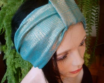 womens headband turquoise gold  swim headband wide  lycra headband turband