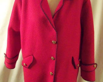 Vintage 1970s Aqua Sheen Red Rockabilly Coat Jacket with Navy Blue Overcast Top Stitching and Tab Top Pockets