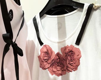 T-shirt with flower print and black ribbons, hand made details