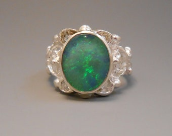Opal Genuine Recycled Australian Opal Sterling Silver Ring October Birthstone Opal Doublet
