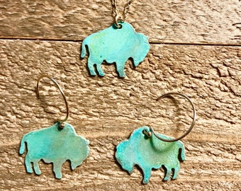 Mini Patina Buffalo Necklace or Earrings-Wyoming,Colorado, yellowstone,buffalo,gold,brass,patina,turquoise,bison,gift idea,christmas present