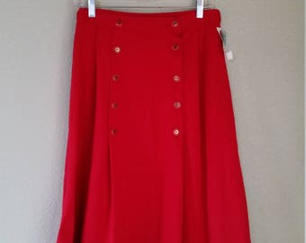 1970s Red Knee Skirt, Pleats, by Lucia Petites, Size S/M  #37132