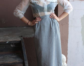 Vintage Skirt // Navy Blue and White Hickory Striped Pin Up Pencil Summer Skirt // High Waist Cotton Skirt