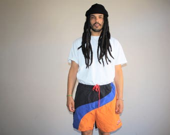 1990s Vintage Graphic Colorblock Nautica Hip Hop Rap Rapper Swim Trunks Men's Shorts - 90s VTG Swimming Shorts - 90s Clothing - MV0422
