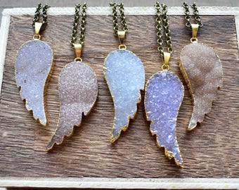 X-Large Gold Brass Angel Wing Druzy Necklace/ Natural Crystal Quartz Druzy Stone/Must Have Gift Stylish Fashion Layering Piece (EP-BND21-XL)