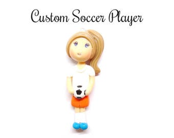 Custom Soccer Player Ornament, Pendant, Purse Charm, Magnet, Brooch, Bow Center, Necklace, Cold Porcelain Clay Soccer Player Figurine, Gift