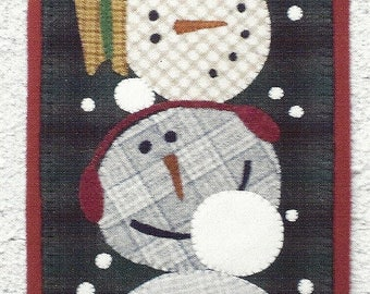 Primitive Folk Art Wool Applique Pattern: FROSTY MUGS - Design by Shawn Williams