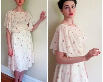 Vintage 1970s Sheer Gauzy Summer Dress Cream Red Floral Print / 70s Butterfly Sleeves Dress Tulip Pattern / Medium