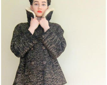 Vintage 1950s Brown Persian Wool Jacket with Blonde Mink Collar / 50s Curly Wool Swing Jacket / Medium