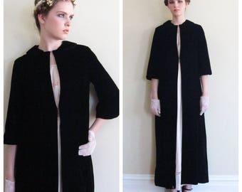 Vintage 1960s Black Velvet Maxi Coat / 60s Long Opera Coat Evening Dressy Party Goth