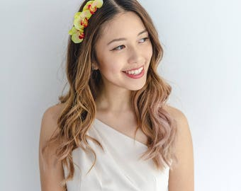 orchid flower headband / creamy green // wedding bridal, spring racing flower crown headband fascinator, floral headpiece