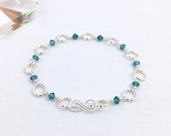 Silver Rings Wire Wrapped Crystal Beaded Bracelet in Indicolite Blue