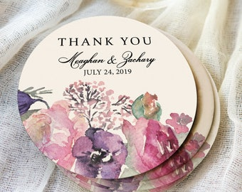 Wedding Coasters Thank You Favors Personalized Names & Wedding Date Purple Floral Design Coaster for Wedding Drinks Bar (Item - CFP440)