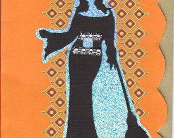 Enchanting Witch, Faux Rhinestone Embellishments, Layered Silhouette Greeting Card, Blank Inside, Create Your Own Message, Halloween