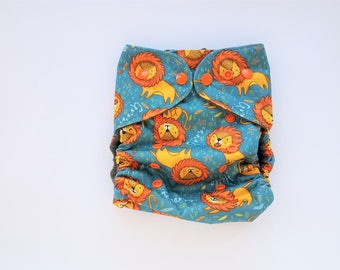 Cloth diaper cover, fleece lined, diaper cover, ready to ship, All-in-two AI2 optional, hemp insert, little lion, safari,jungle