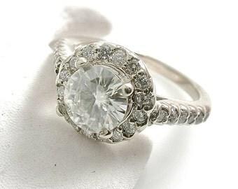 Halo Diamond Engagement Ring, Round Halo Engagement Ring, Diamond Engagement Ring, Certified Diamond, Thin Diamond Ring, Halo Round Ring