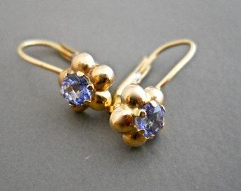 Tanzanite Earrings, Tiny Earrings, Dainty Earrings, Flower Earring, Flower Drop Earrings, Flower Dangle Earrings, Tanzanite Drop Earrings