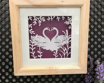 Swan Couple - Framed Layered Papercut