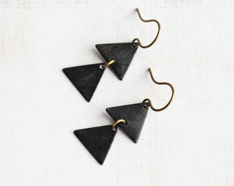 Rustic Black Triangle Dangle Earrings on Antiqued Brass Hooks (Two Triangle)
