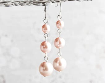 Light Pink Earrings, Pink Pearl Earrings on Silver Plated Hooks, Pale Pink Bridesmaid Earrings, Wedding Jewelry Sets