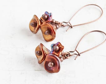 Rust Red Flower Cluster Earrings on Antiqued Copper Plated Hooks