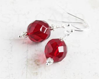 Simple Red Faceted Glass Dangle Earrings on Silver Plated Hooks