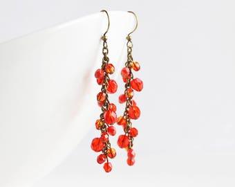 Long Rustic Orange Beaded Cluster Dangle Earrings on Antiqued Brass Hooks