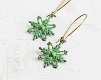 Small Rustic Green Patina Snowflake Dangle Earrings on Antiqued Brass Hooks