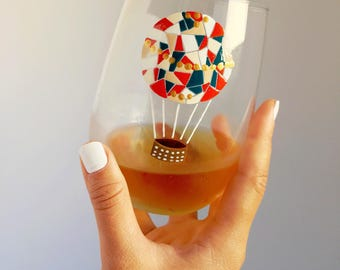 Vintage Hot Air Balloon Hand Painted Wine Glass