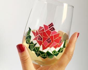 Watermelon- Mosaic Hand Painted Wine Glass