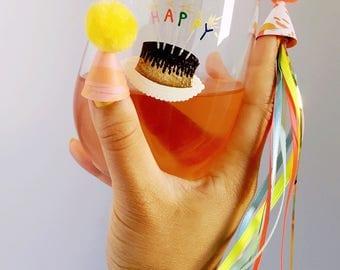 Birthday Cake Hand Painted Wine Glass