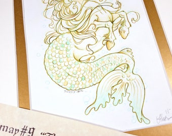 The Hippocamp - Mermay 2017 Limited Run Double Matted Giclee Print with Story Scroll