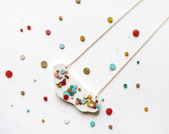 Rainbow Confetti Leather Statement Necklace Abstract Amoeba 14K Gold Plated Chain Colourful Sustainable Eco Friendly Gift Gifts Japanese