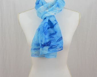Hand Painted Chiffon Silk Scarf, Blue Scarf, Abstract Scarf, Watercolor Scarf, OOAK, One of a kind, Hippie, Gift for her