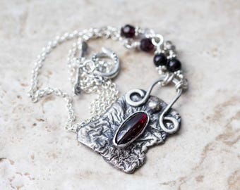 Garnet Necklace in Reticulated Sterling Silver Handcrafted