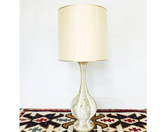 Mid Century Large White Pottery Lamp