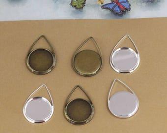 20 Brass Teardrop Pendant W/ 12mm Round Bezel Antique Bronze/ Silver Plated Pendant Trays Cabochon Mountings Gems Setting- Z8186
