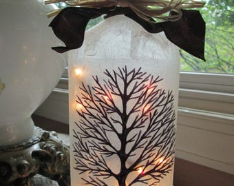 Bare Tree Wine Bottle Lamp,tree,bare trees,trees,winter trees,wine bottle light,wine bottle lights,lighted bottles,lighted wine bottle,lamps