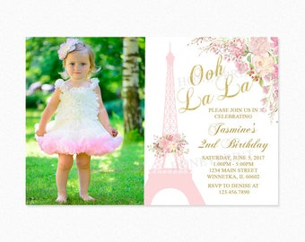 Paris Birthday Party Invitation 2, Eiffel Tower Birthday Party Invitation, Watercolor Flowers, Photo, Personalized, Printable or Printed