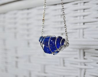 Seaglass Necklace - Seaglass Jewelry - Cobalt Blue Seaglass in a Cage