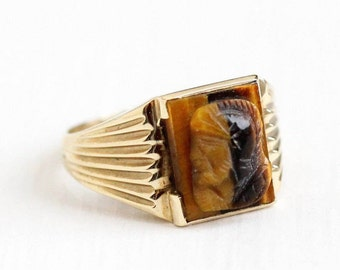 Sale - Vintage 10k Yellow Gold Tiger's Eye Cameo Ring - Mid Century 1950s Size 5 1/2 Roman Warrior Soldier Fine Brown Carved Gem Jewelry