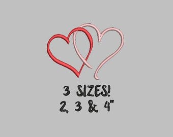 Buy 1 Get 1 Free!  Double Hearts Embroidery Design Joined Hearts Embroidery Design Wedding Embroidery Design Valentines Embroidery Mini Hear