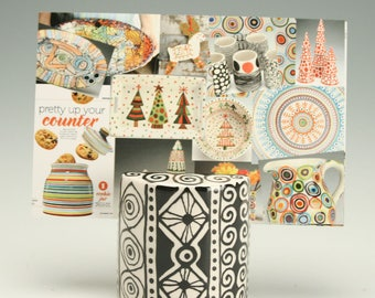 Business Card Holder for Desk, Black and White Ceramic Photo, Card, Postcard Holder, Card Holder, Black and White Ceramics