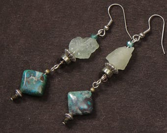 Blue Glacier earrings: aquamarine, jasper, silver