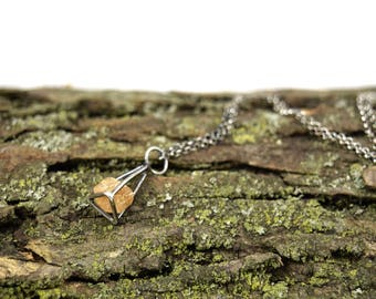 Raw Topaz Necklace in Sterling Silver - Gemstone Cage Necklace - Raw Stone Necklace - Natural Topaz Jewelry - Uncut Topaz Necklace