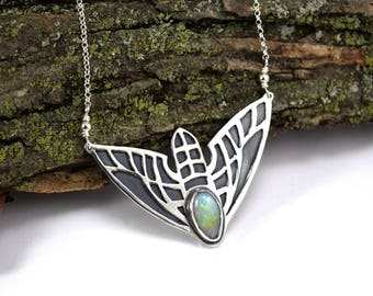 Moth Necklace with Boulder Opal in Sterling Silver - Insect Necklace - Opal Moth Pendant - Art Nouveau Necklace - Vine Sphinx Moth Jewelry