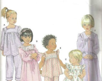 Toddler Girls' Pajamas in Two Length Nightgown Robe Child's Sleepwear Simplicity 9968 Uncut FF sizes 6 mo. - 4 Girls' Sewing Pattern