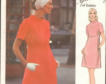 1970s Mod High Waisted Curved Bodice Seam Short Sleeves Vogue 2336 Sybil Connolly Designer Size 12 Bust 34 Women's Vintage Sewing Pattern