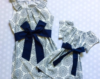 Navy Medallion Mother Daughter Matching Dresses - Mommy and Me Dresses - Mommy and Me - Mother Daughter Dresses - Mom and Me - Handmade