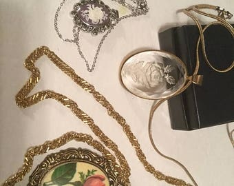 25% Off Sale Vintage Rose Pendant Necklaces (3)/Free Shipping